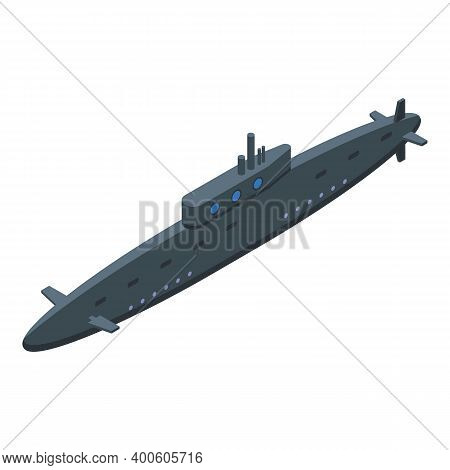 Military Submarine Icon. Isometric Of Military Submarine Vector Icon For Web Design Isolated On Whit