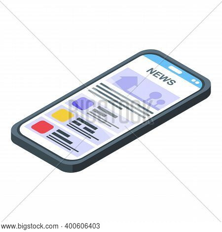Smartphone News Reportage Icon. Isometric Of Smartphone News Reportage Vector Icon For Web Design Is