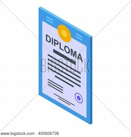 Diploma Assignment Icon. Isometric Of Diploma Assignment Vector Icon For Web Design Isolated On Whit