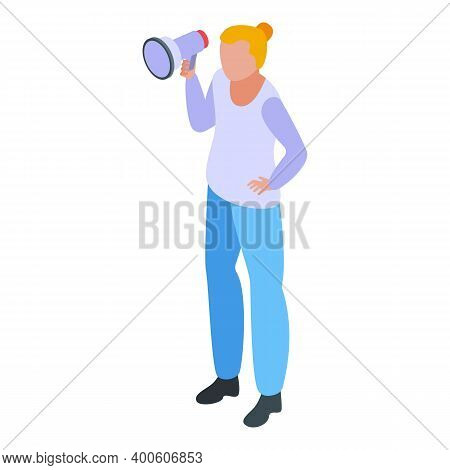 Monetization Woman Megaphone Icon. Isometric Of Monetization Woman Megaphone Vector Icon For Web Des