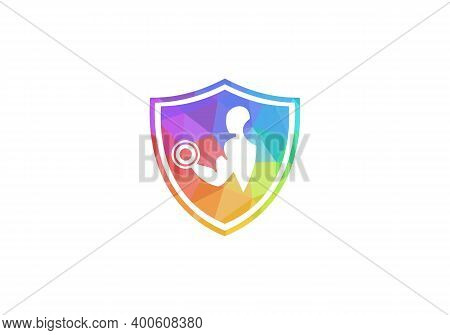 Fitness Gym Logo. Man Of Fitness Silhouette Character Vector Design Template, Fitness Logo With Shie
