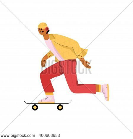 Young Man Riding Skateboard. Stylish Male Skater In Casual Outfit