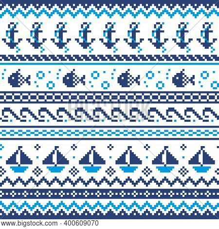 Nautical Scottish Fair Isle Style Traditional Knitwear Vector Seamless Pattern, Sailing Design With