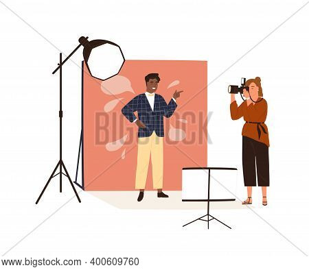Portrait Photography Backstage. Female Photographer Taking Photo Or Shooting African American Man Po