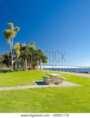 Picnic table in Embarcadero Marina Park, San Diego, California.