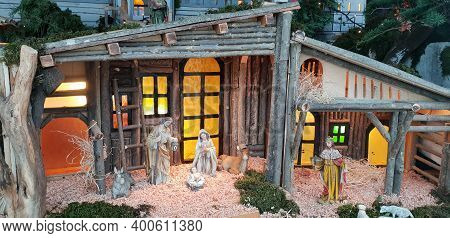 Traditional Christian Christmas Nativity Scene, Birth Of Jesus