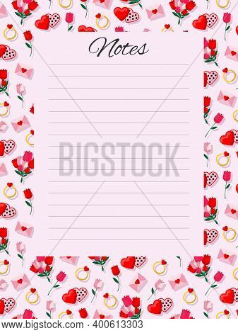 To-do List, Set Goals, Task Organizer, Shopping List, Notes. Roses, Hearts, Love Letters On A Pink B
