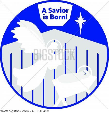 An Angel Announces The Birth Of Jesus Christ To The World. The Star Of Bethlehem Shines In The Sky.