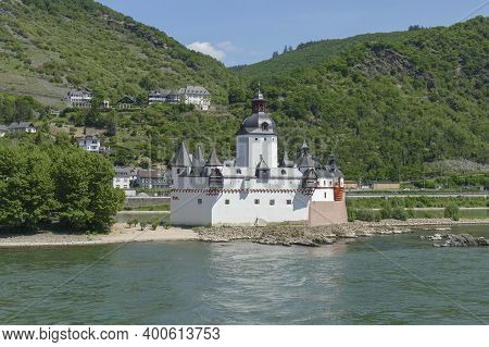 Pfalzgrafenstein Castle At The Rhine Gorge On Falkenau Island Near Kaub  In Rhineland-palatinate, Ge