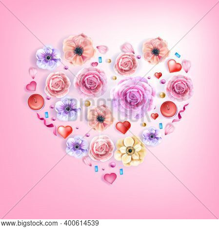 Love Rose Heart Vector Greeting Card, Floral Valentine's Day Poster With Anemones, Petals, Flowers,