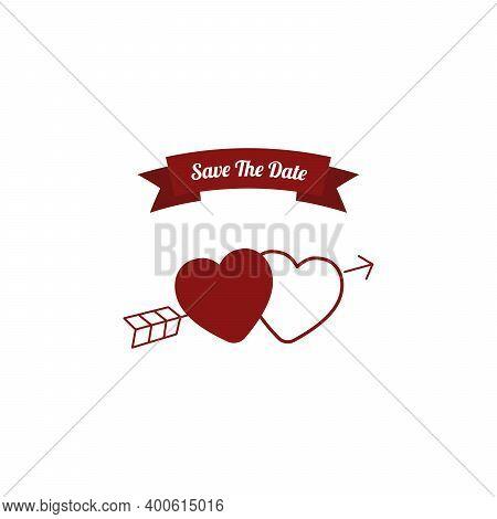 Wedding Invite, Invitation, Save The Date Card Design With Hearts Vector Beauty Postcard Editable, C