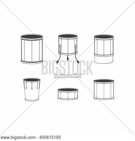 Vector Dark Outline Drum Set On White Background Bass Tom-tom Ride Cymbal Set