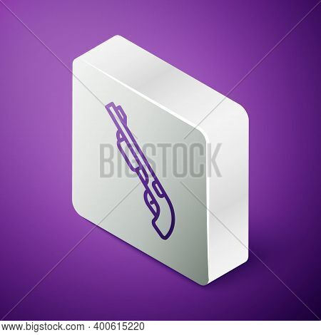 Isometric Line Police Shotgun Icon Isolated On Purple Background. Hunting Shotgun. Silver Square But