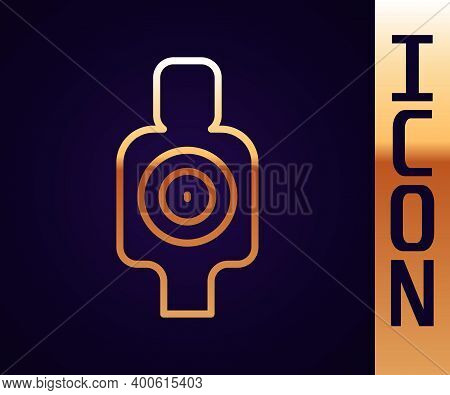 Gold Line Human Target Sport For Shooting Icon Isolated On Black Background. Clean Target With Numbe