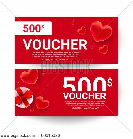 Shopping Voucher Gift Cards Template Set With Realistic Sweet Love Shape Decor And 500 Dollar Number
