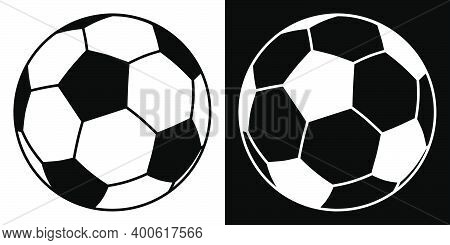 Black And White Classic Soccer Ball Icon. Isolated Vector On White Background