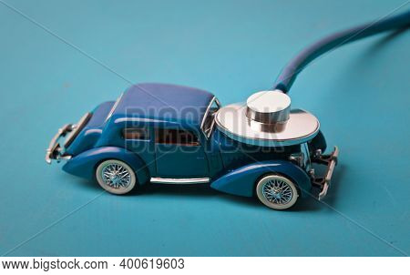 stethoscope on a small model car
