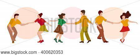 Vector Illustration Line Of Feet Of Men And Women In Shoes Dancing Charleston, Vector Illustration I