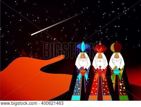 Three Wise Men Christmas. Three Biblical Kings, Caspar, Melchior And Balthazar. Bethlehem Nativity C