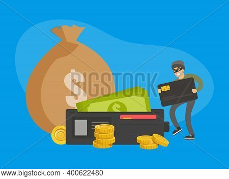 Masked Man Stealing Money And Credit Card, Thief Committing Robbery, Lawless Financial Criminal Scen