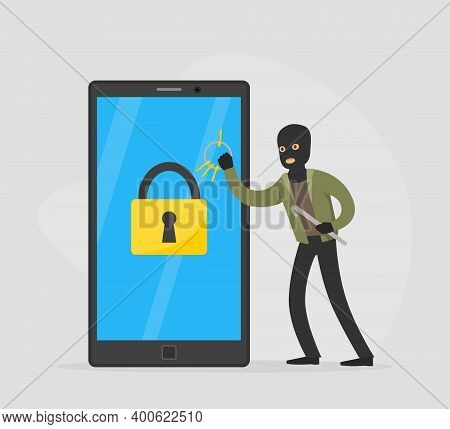 Male Burglar Hacking Smartphone And Stealing Personal Information From Laptop Phone, Lawless Crimina