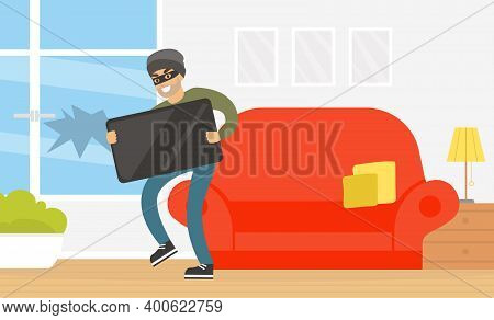 Male Thief Stealing Television From House, Burglar Committing Robbery, Criminal Scene Flat Vector Il