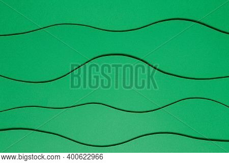 Green Paper Background, Cut From Paper. Design Card, Brochure, Cover, Wallpaper. Paper Cutting Desig