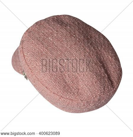 Fashion Pink Hat With Visor Isolated On White Background.cap Female. Colored Hat .
