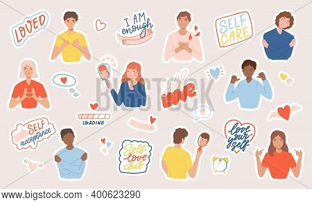 Set Of Stickers With People, Motivational Phrases And Hearts. Concept Of Body Positive, Self-love An