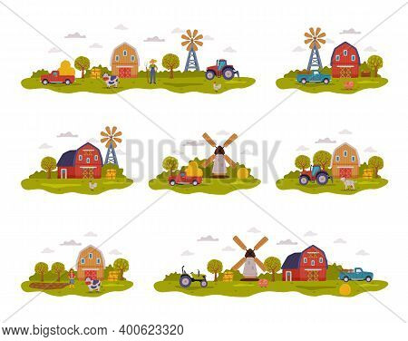Farm Scenes Collection, Farm Buildings, Farmers, Agricultural Transport And Livestock, Summer Rural