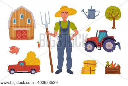 Male Farmer And Agricultural Objects Collection, Farmhouse, Tractor, Gardening Tools, Agriculture An