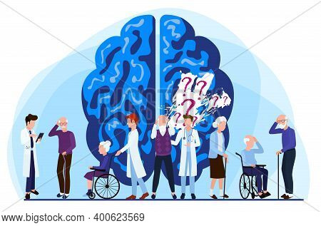 Alzheimers Disease Patients Concept. Lapse Of Memory. Medical Care Is Provided To People With Brain