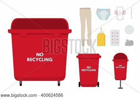 Waste Sorting Set, Flat, Infographics Vector Illustration. Red Bins For No Recycling Trash, Nylon, D