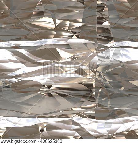 Seamless Texture Of Crumpled Metalllic Foil As Background. Tileable Texture Of Crumpled Metallic Foi