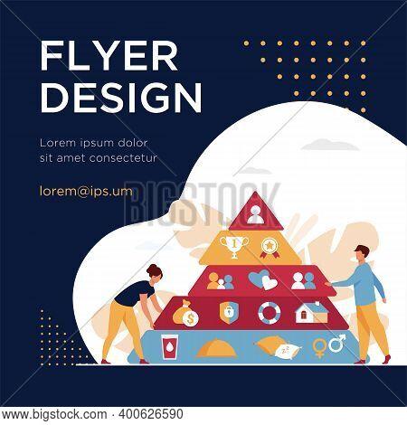 Tiny People Near Maslow Pyramid Flat Vector Illustration. Cartoon Triangle Pyramid With Graphic Hier