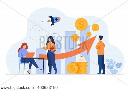 Startup Managers Presenting And Analyzing Sales Growth Chart. Group Of Workers With Heap Of Cash, Ro