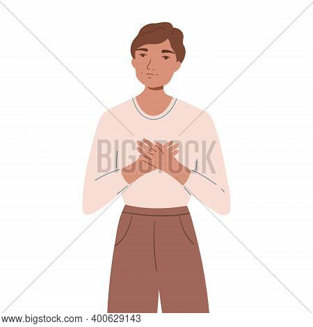 Smiling Happy Man Holding Hands On His Chest. Concept Of Self-love And Self-acceptance. Young Guy Sh