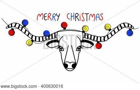 The Head Of A Cow With Long Horns. Christmas Lights On The Horns Of A Bull. Text Merry Christmas. Sa