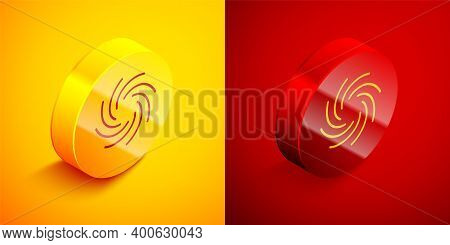 Isometric Tornado Icon Isolated On Orange And Red Background. Cyclone, Whirlwind, Storm Funnel, Hurr