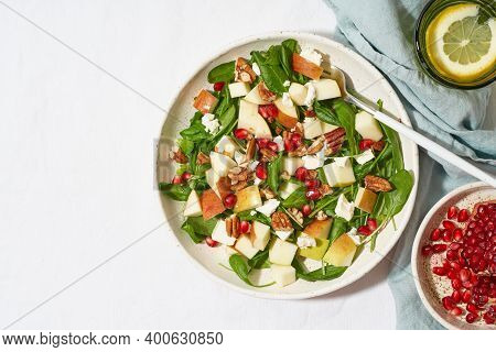 Fruits Salad With Nuts, Balanced Food, Clean Eating. Spinach With Apples, Pecans And Feta, Garnished