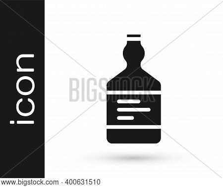 Black Tequila Bottle Icon Isolated On White Background. Mexican Alcohol Drink. Vector