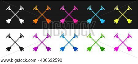 Set Arrow With Sucker Tip Icon Isolated On Black And White Background. Vector