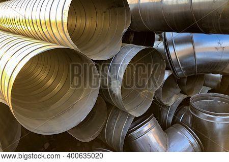 Halvanized Ventilation Pipe Parts. Industrial Metal Pipes