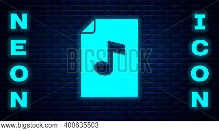 Glowing Neon Music Book With Note Icon Isolated On Brick Wall Background. Music Sheet With Note Stav