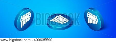 Isometric Pan Flute Icon Isolated On Blue Background. Traditional Peruvian Musical Instrument. Folk