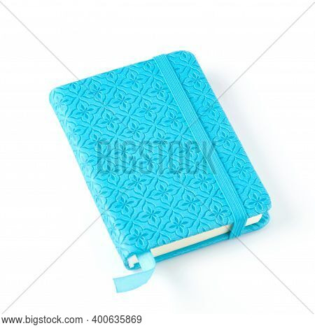 Blue Notebook With Pattern Isolated On White