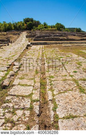 Grosseto, Italy - September 4th 2020. The Ruins The Roman Forum In Roselle Or Rusellae, An Ancient E