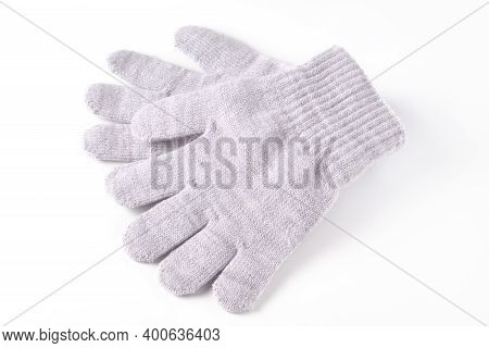 Grey Colored Winter Gloves Isolated On White