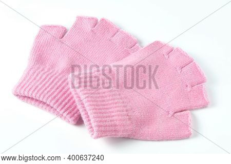 Pink Colored Winter Mittens Isolated On White