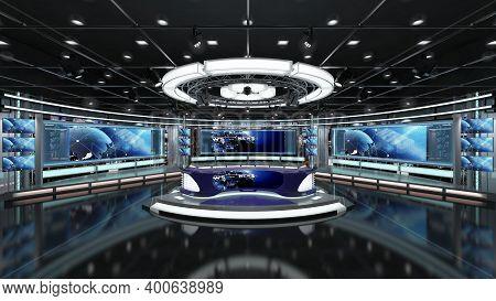 Virtual Tv Studio News Set 1.2-1 Green Screen Background. 3d Rendering. Virtual Set Studio For Chrom